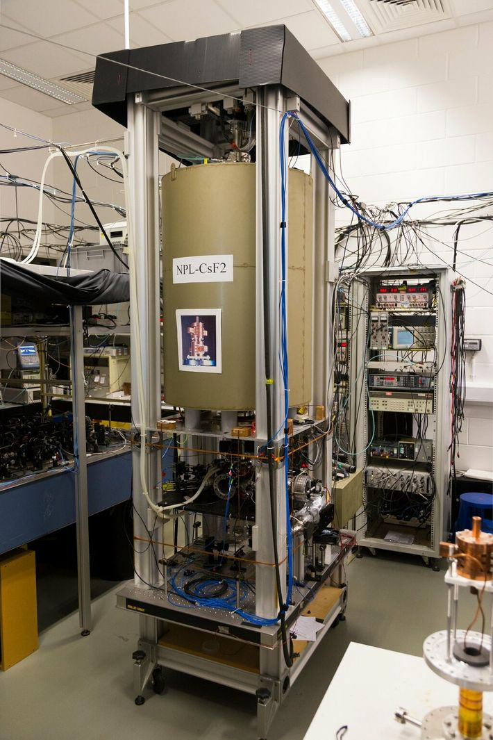 Atomic clocks work by using the resonance of an element – in the case of this clock ...