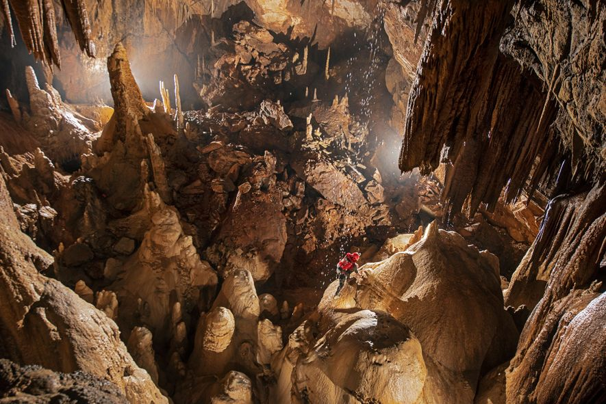 Originally carved by subterranean rivers, Credence cave system was slowly pushed upward by tectonic forces, which lifted it away from water and helped dry it out.