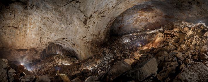 Sarawak Chamber, briefly illuminated by dozens of flashbulbs, is the largest cave chamber yet discovered on ...