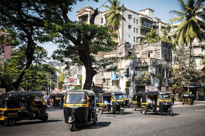 Auto rickshaws in Bandra, where Many of Bollywood's top stars, as well as producers and directors, ...