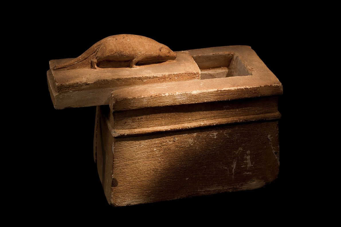 A shrew on a tiny stone coffin identifies the contents precisely.
