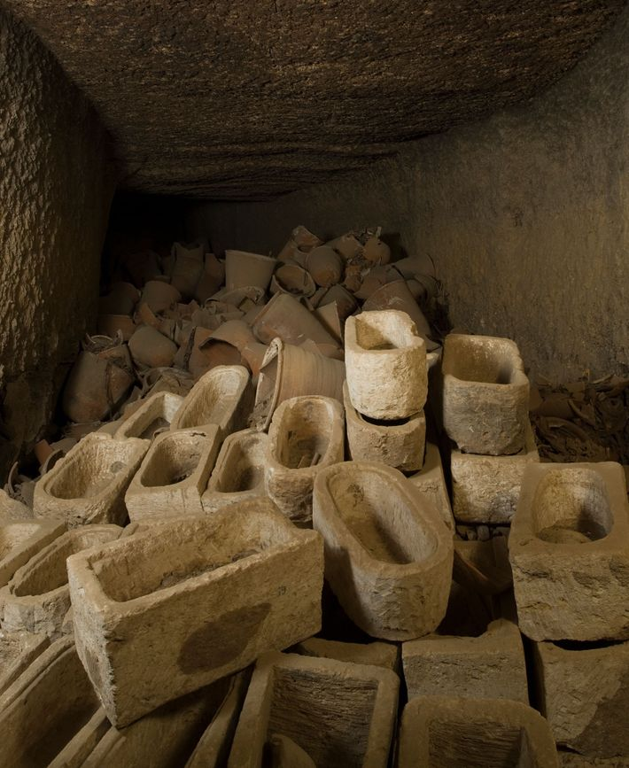 A storage site scattered with sarcophagi for ibis mummies at the site of Tuna el-Gebel, where ...