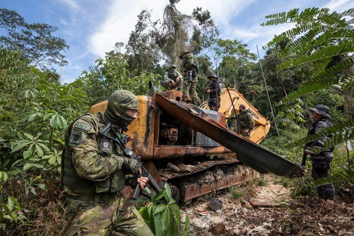 Illegal mining equipment in Rondonia.