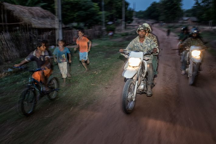 A group of Forest Guardians from the Guajajara tribe on patrol inside Arariboia Indigenous Territory, in ...