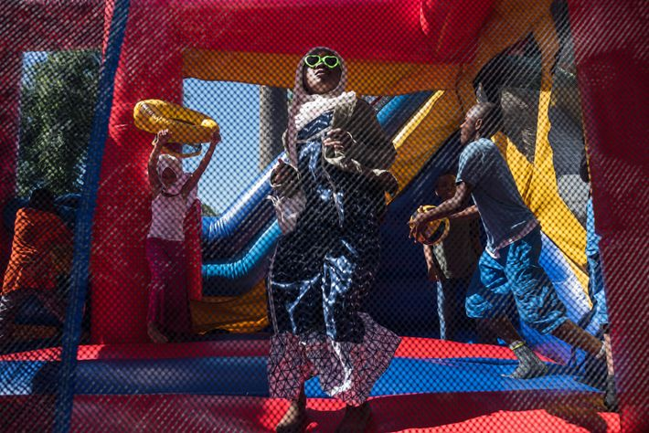 Children in South Los Angeles celebrate Eid al-Fitr, the holiday that marks the end of Ramadan, ...