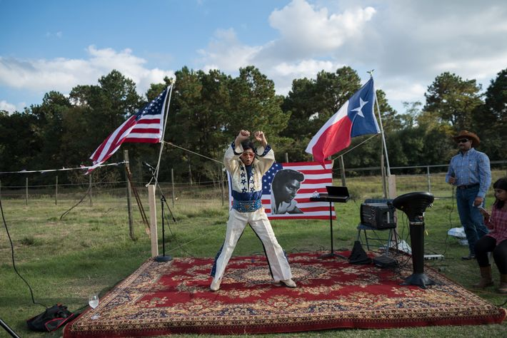 Airaj Jilani, a retired oil-and-gas project manager from suburban Houston, performs as Elvis Presley. He has ...