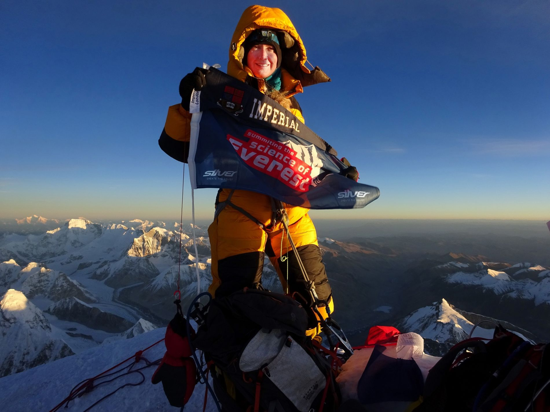 """""""In general, both physics and mountaineering andadventuring are male-dominated. But I think the situation is changing."""" Melanie Windridge on the summit of Everest in 2018."""