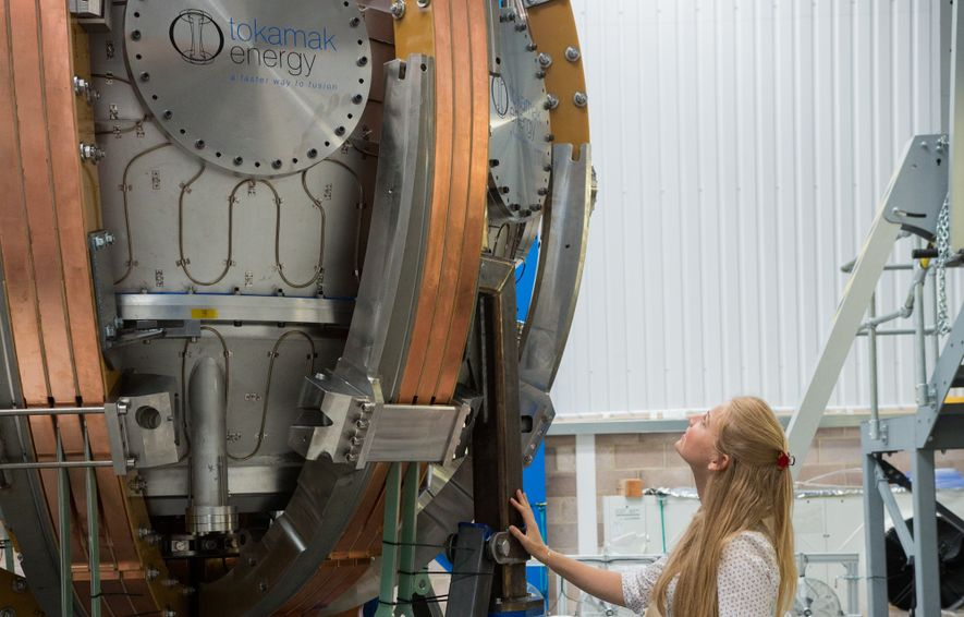 Melanie Windridge with a tokamak, a containment unit for nuclear plasma. She currently works for fusion ...