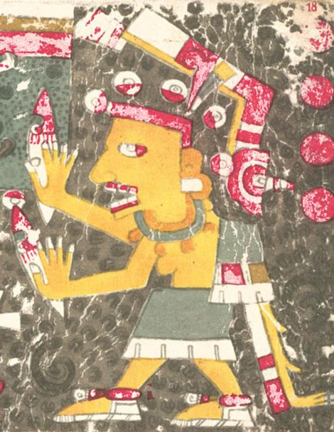 A drawing of the Aztec goddess Mictēcacihuātl, who was referenced in the manuscript of the Codex ...