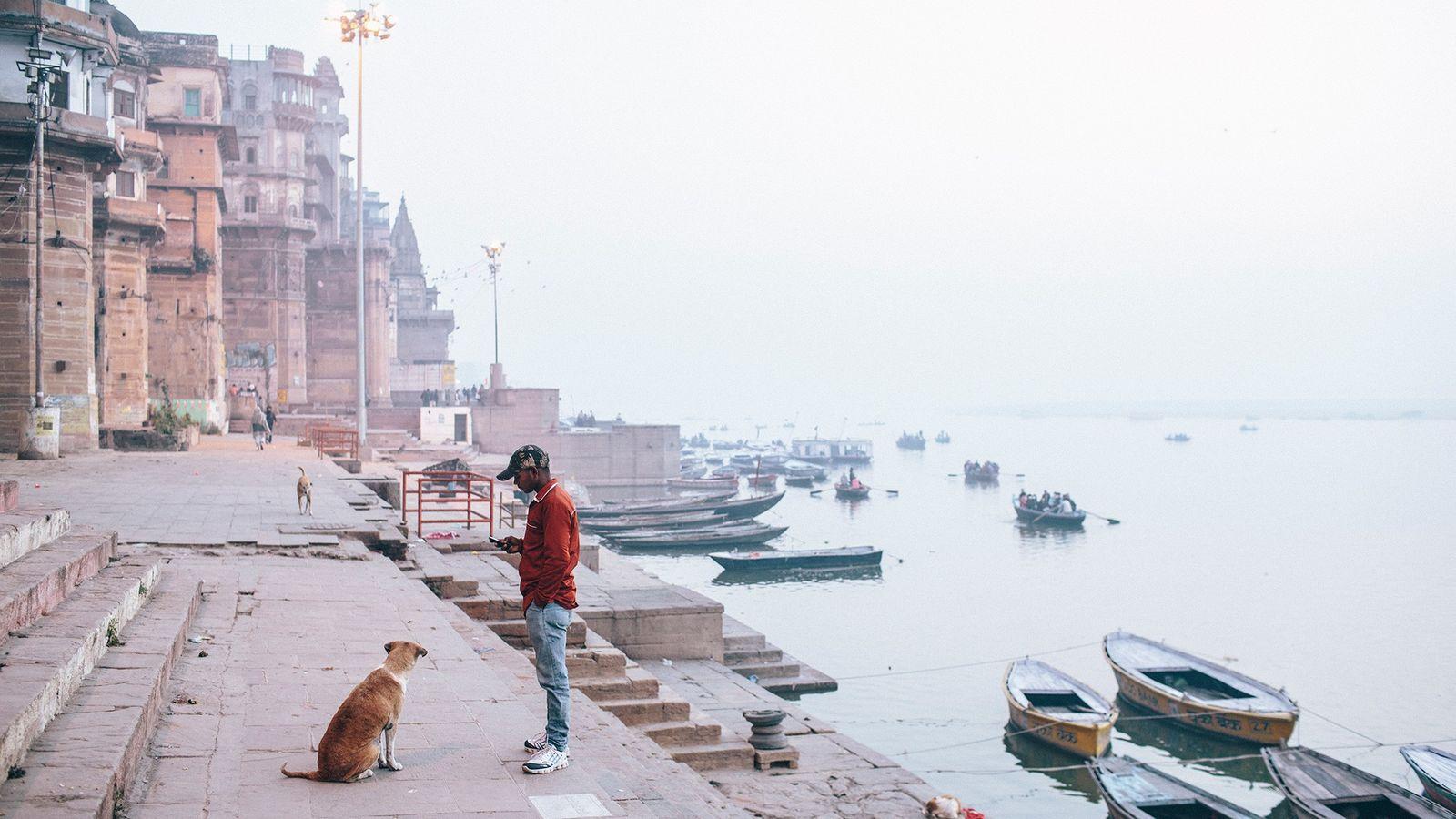 A stray dog sits by a man in Varanasi, a city in Uttar Pradesh. A recent ...