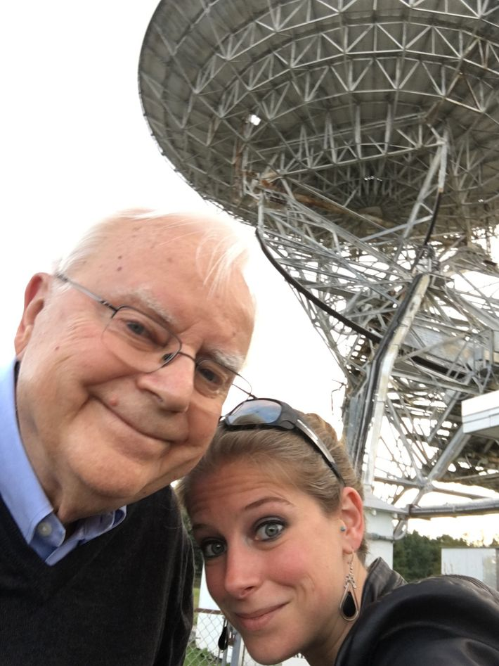 Frank and Nadia Drake at the Green Bank Observatory in 2016. Behind them is the 85-foot ...