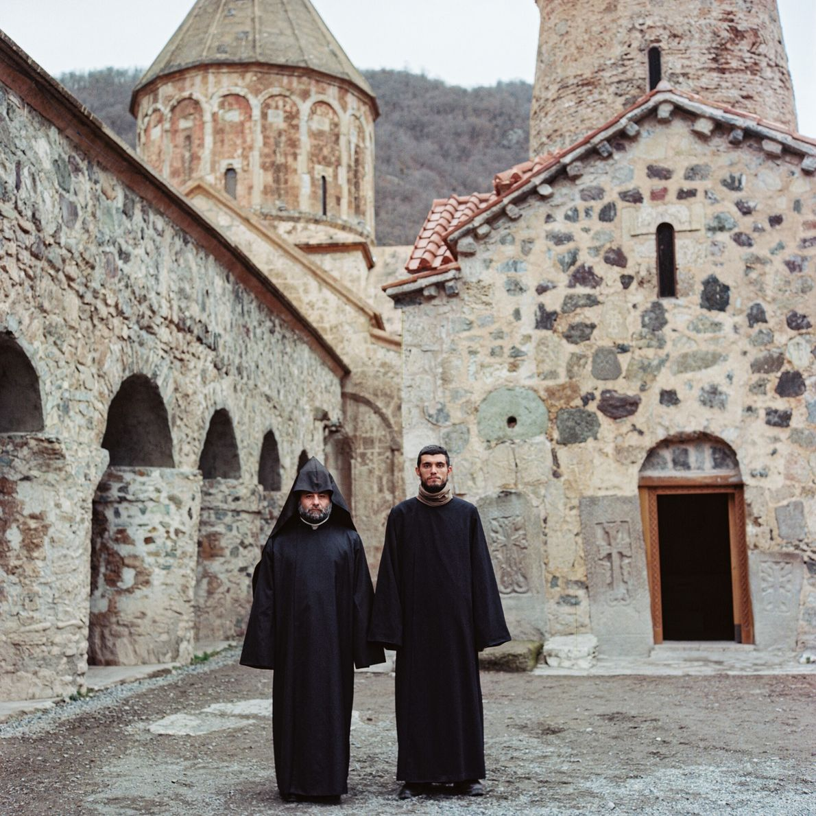 Eight Armenian monks, protected by Russian peacekeepers, still serve at Dadivank Monastery in Kalbajar, one of ...