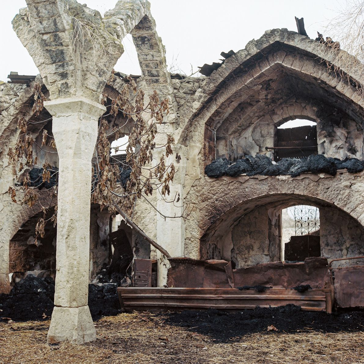 In Giyasli village in Ağdam province, the historic mosque was destroyed, its remnants used as a ...