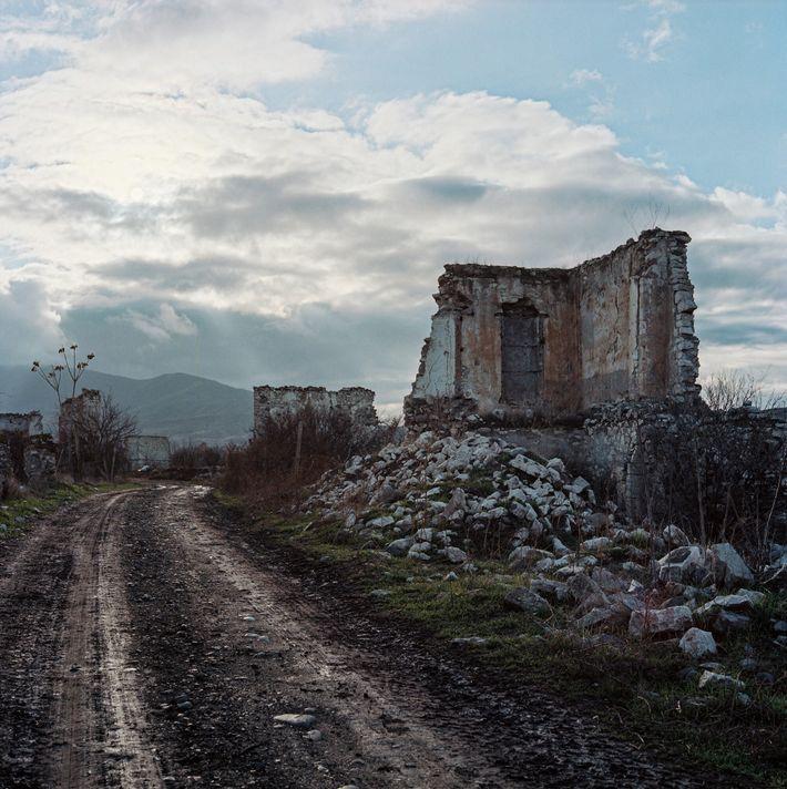So many buildings were destroyed in Qasımlı that Imran Guliyev had to use his memories of ...