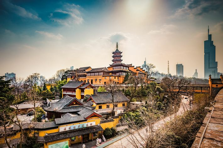 Nanjing's Buddhist temple of Jiming was founded in the sixth century A.D. It was destroyed over ...