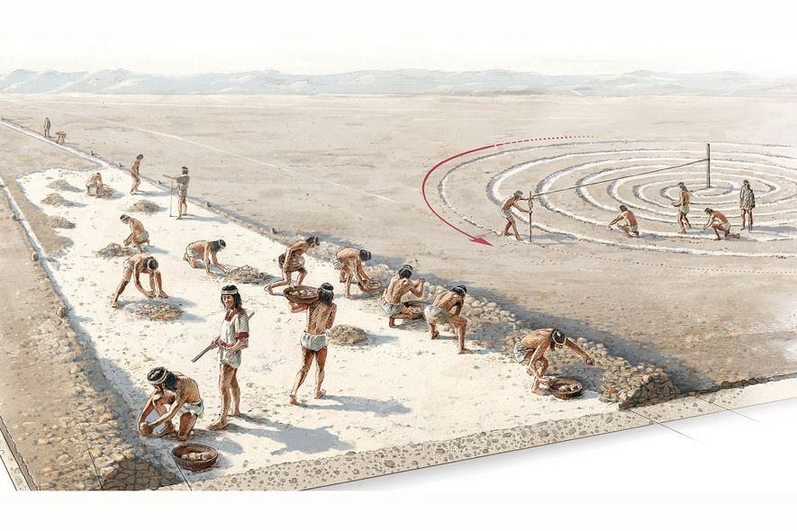 Ancient Peruvians created geoglyphs like the Nasca lines by moving stones to define edges of the lines, and then scraping the top layer of earth between the edges to reveal lighter soil beneath.