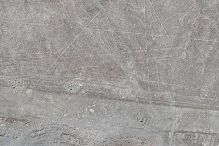 This newly discovered Nasca line feature, captured by a drone, consists of several straight lines with ...