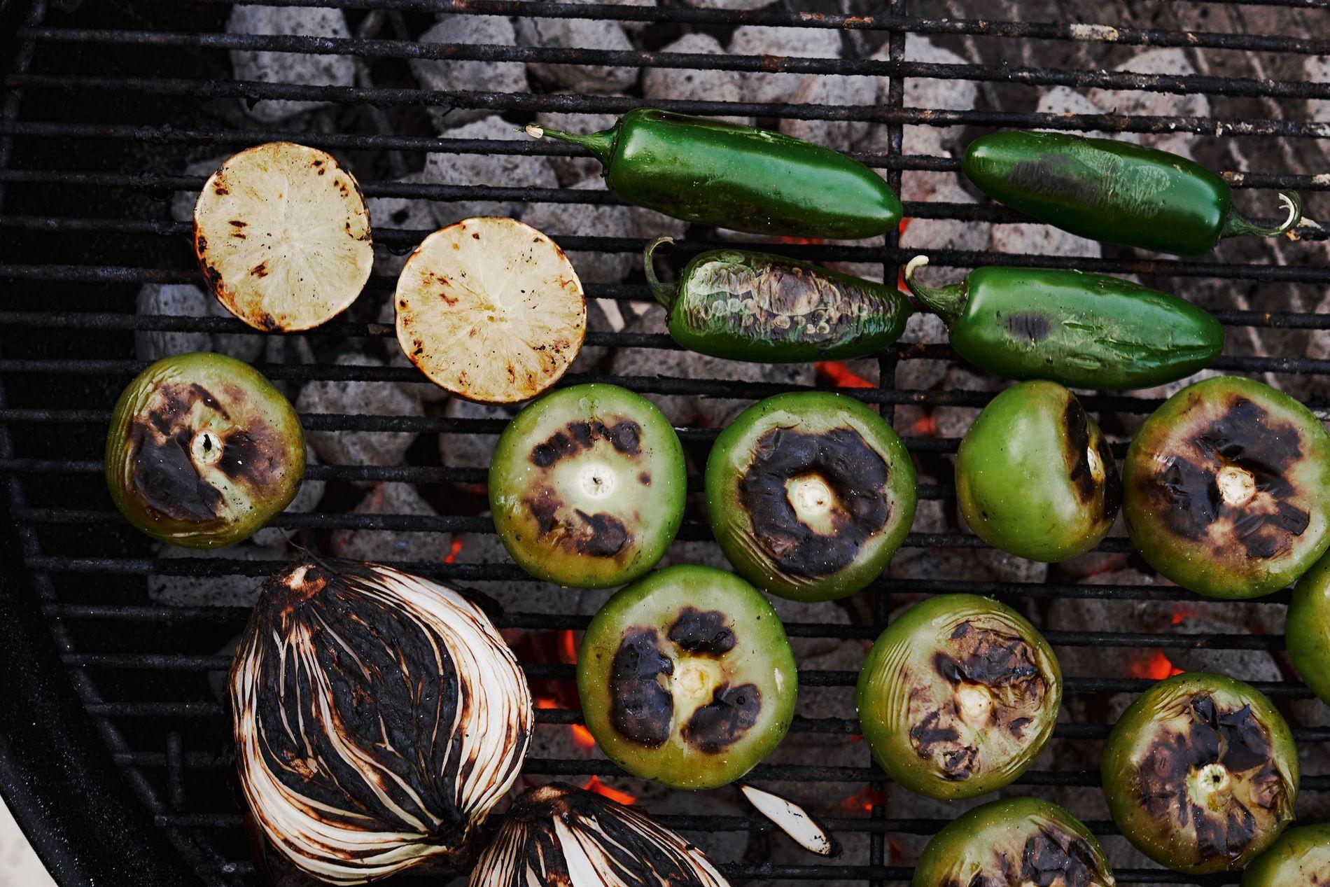 Grilling vegetables.