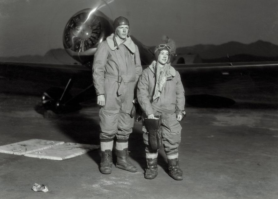On their way to break the record for transcontinental flight, Anne Morrow Lindbergh and her husband, ...