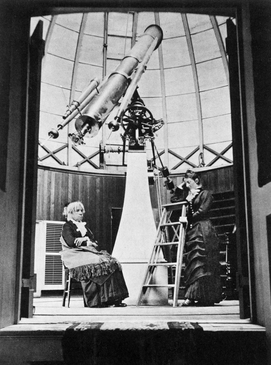 The discovery of a comet propelled astronomer Maria Mitchell (seen at left, about 1880) to celebrity ...