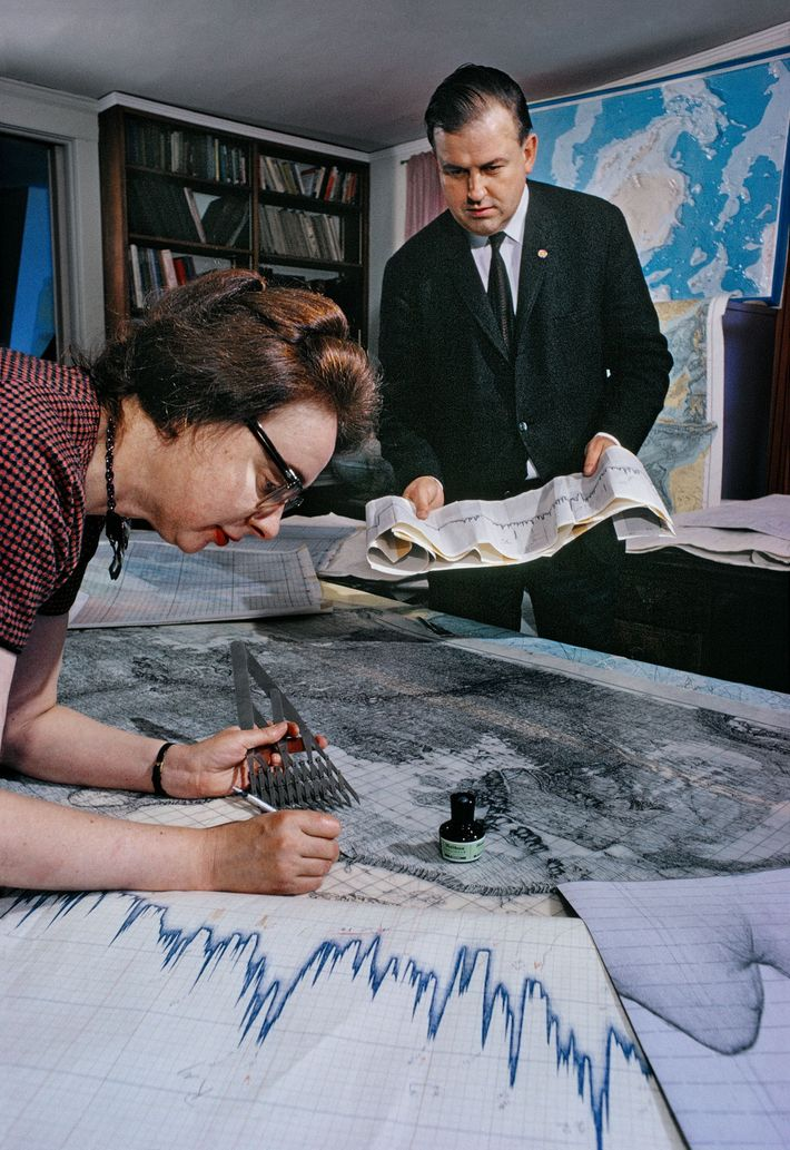 Painstakingly charted sonar data of the ocean floor helped geologists Marie Tharp and Bruce Heezen prove ...