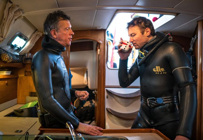 Fabrice Schnöller and Andreas Heide debrief over a warming drink in the galley of Barba. Heide says: ...