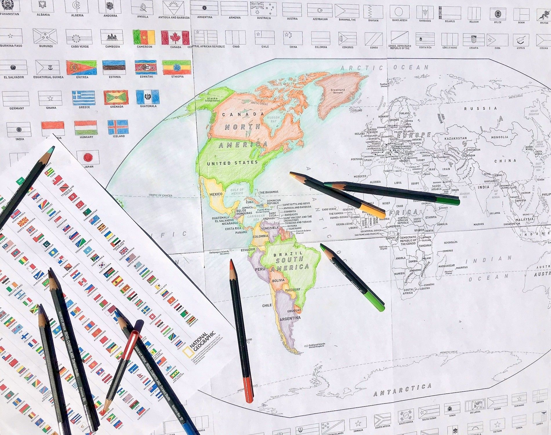 - A World Map With Flags For Your Kids To Colour National Geographic