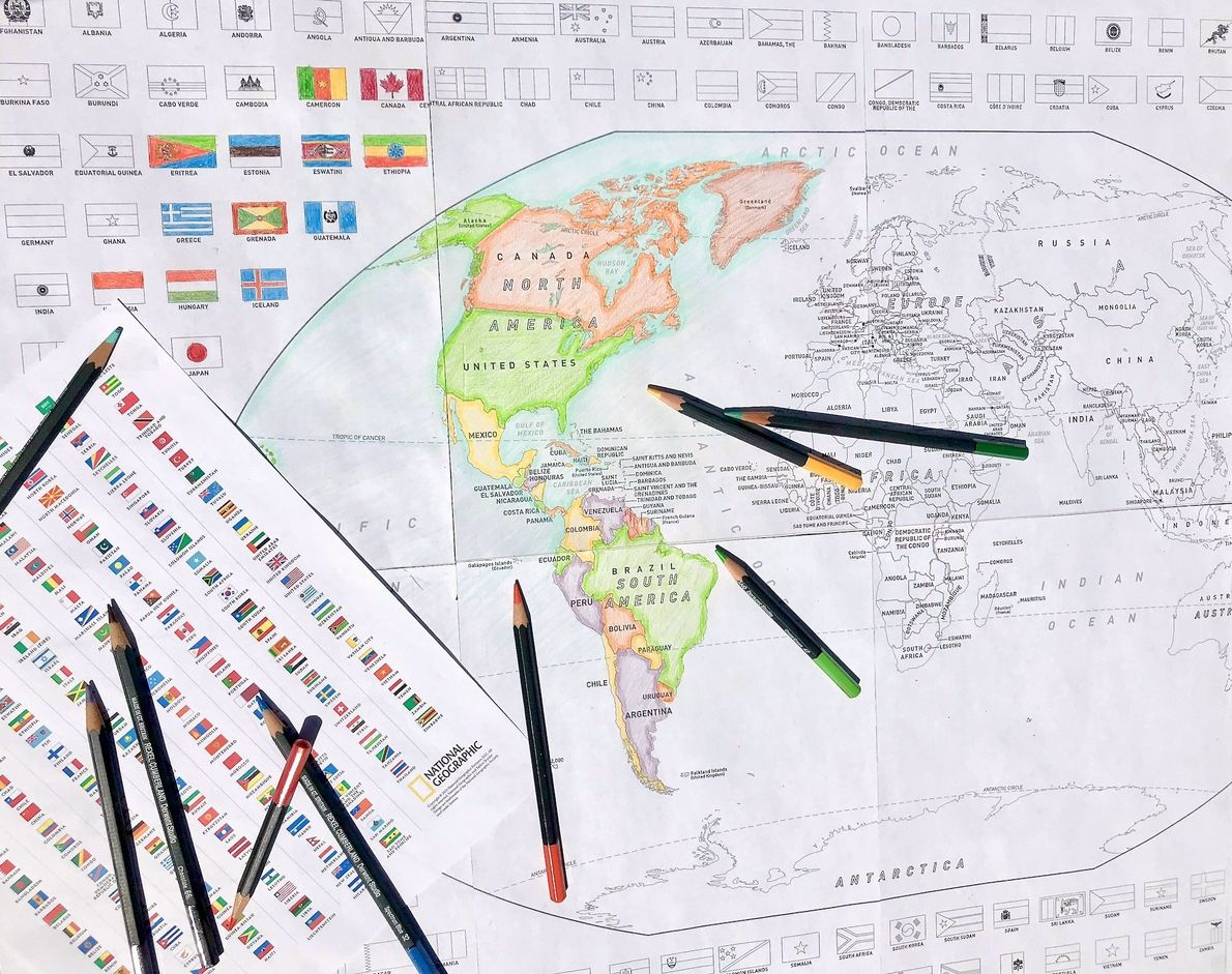 Colour A World Map with Flags