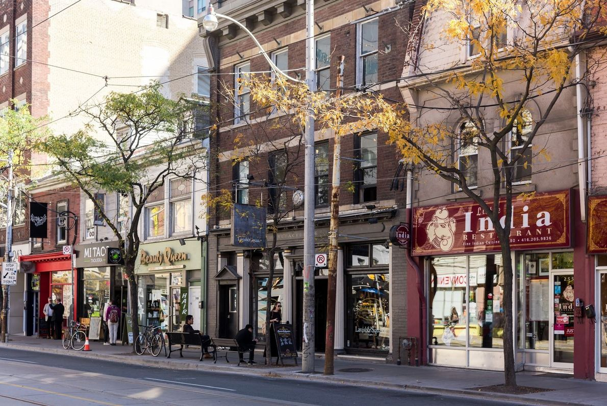 The West Queen West neighbourhood is home to funky speciality shops, trendy bars and nightclubs.