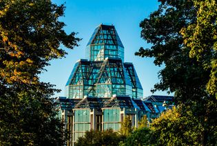 View of the National Gallery of Canada's impressive and award-winning glass building with two octagonal towers.