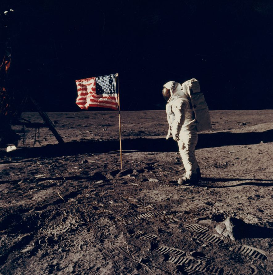 The photo collection preserves many historic moments, including the Apollo 11 moon landing, on July 24, ...