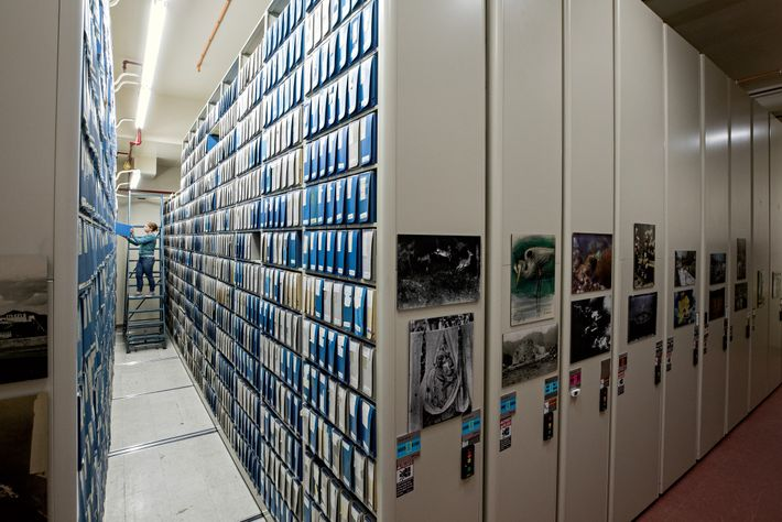 Archival film and art are preserved in a climate-controlled room at National Geographic headquarters in Washington, ...