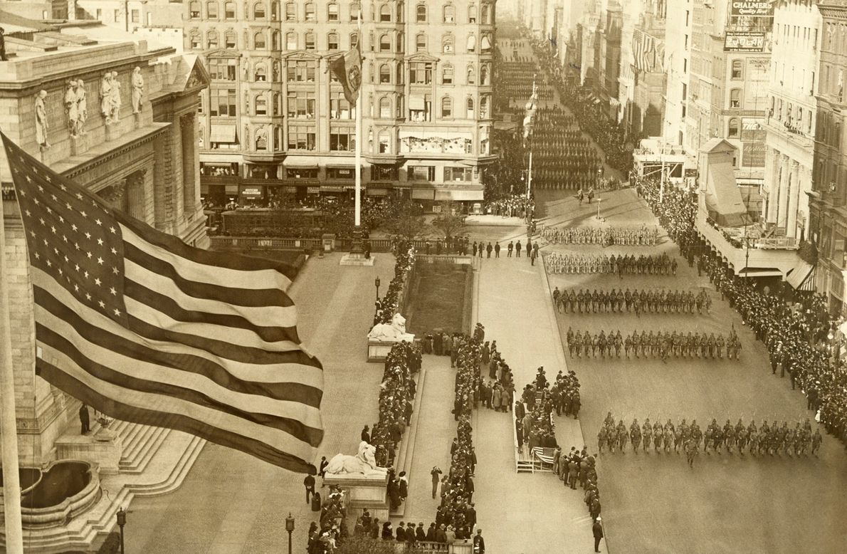 Thousands of New York National Guard soldiers marched down Fifth Avenue in New York City in ...