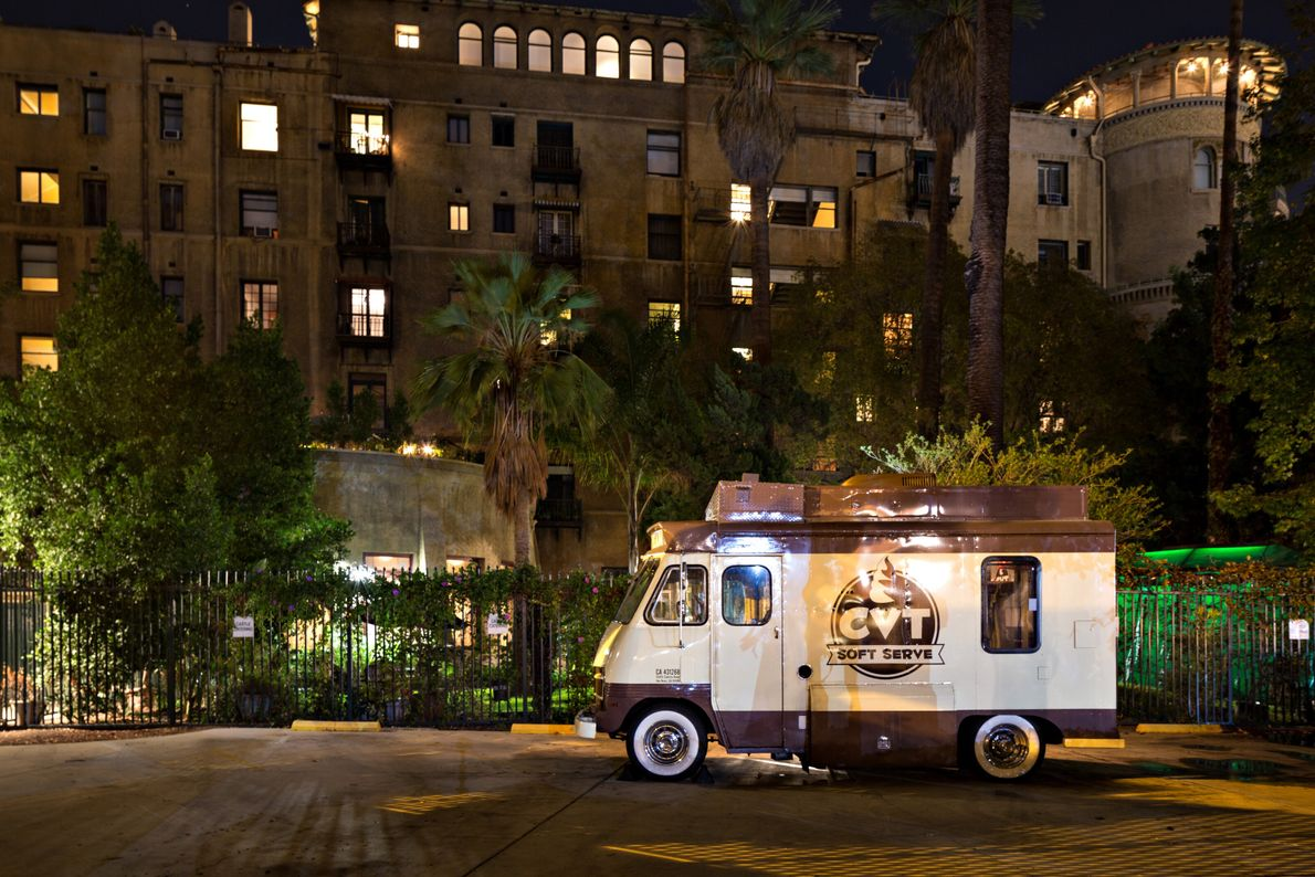 An ice cream truck parks outside the Castle Green wing of the historic Hotel Green in ...
