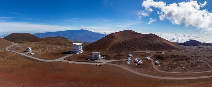 Hawaii's Mauna Kea volcano bristles with observatories including the James Clerk Maxwell Telescope (second from left), ...
