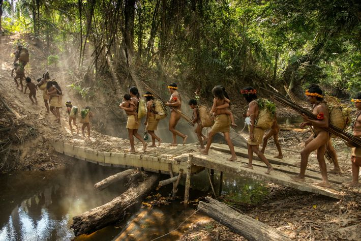 Awá families start out on a hunting trip from Posto Awá, established by the Indigenous affairs ...