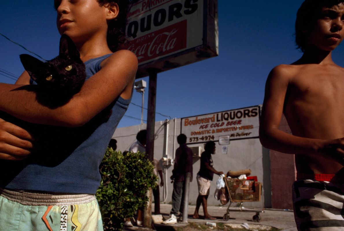 Brothers hang out on Biscayne Boulevard in Miami, Florida, in the early 1990s. A January 1992 ...