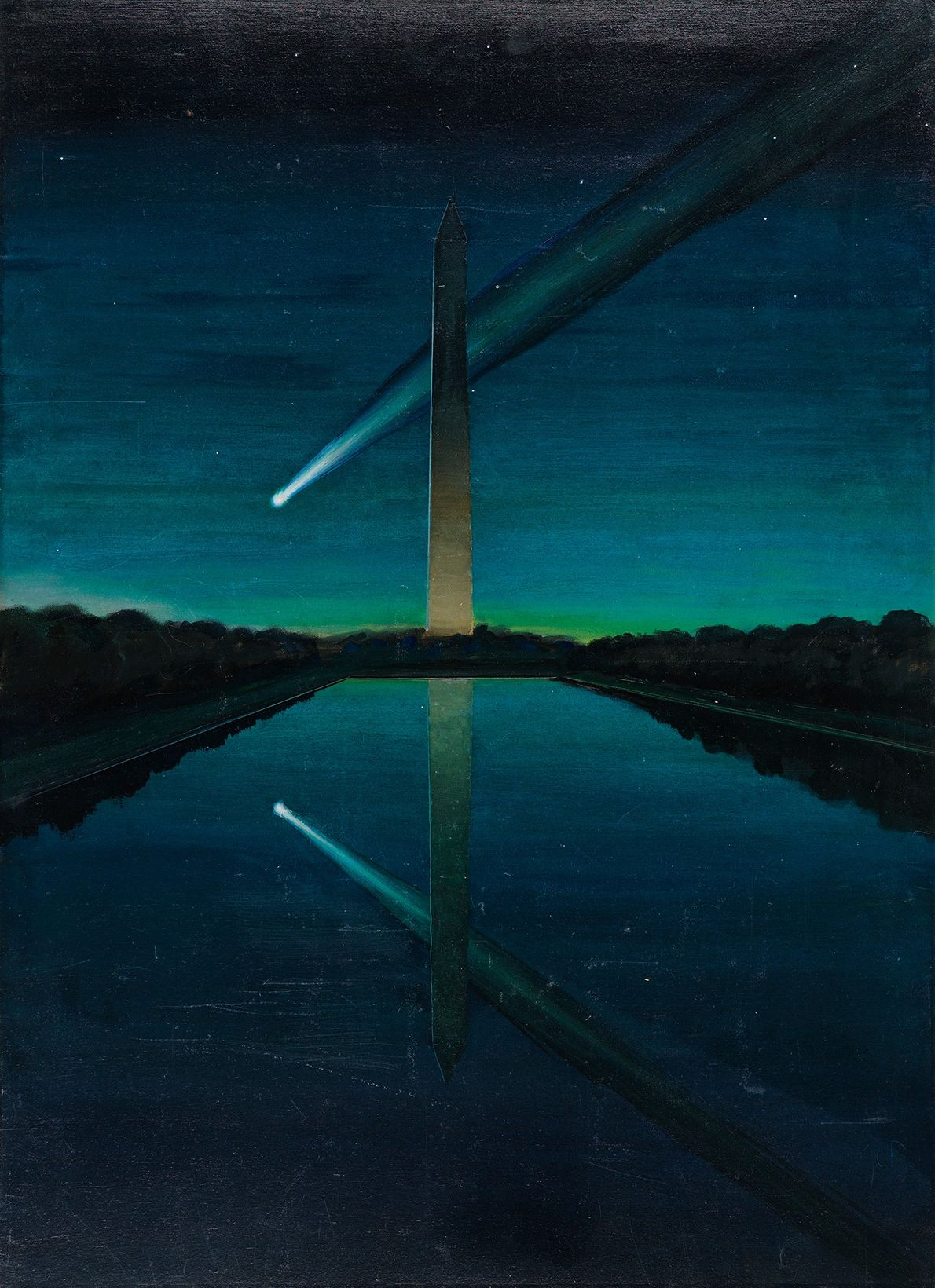 A comet with a spectacular tail seems to glide past the Washington Monument in the nation's ...