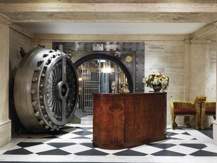 The popular London hotel The Ned also houses the Vault Room, an exclusive drinking spot.