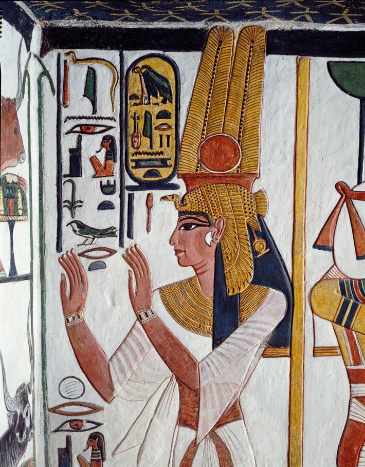 Nefertari's face is rendered with shading to add                    depth to the figure, an unusual practice in ...