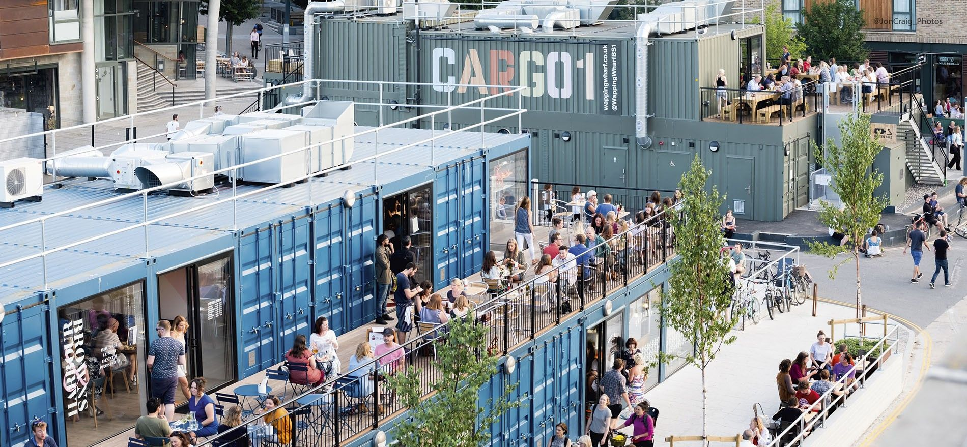 Cargo 1 at Wapping Wharf,a two-storey retail yard of repurposed shipping containers.