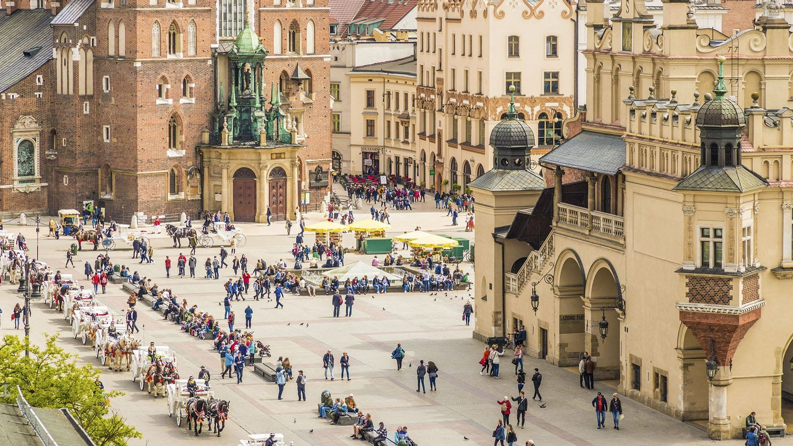 View over Krakow's medieval Old Town