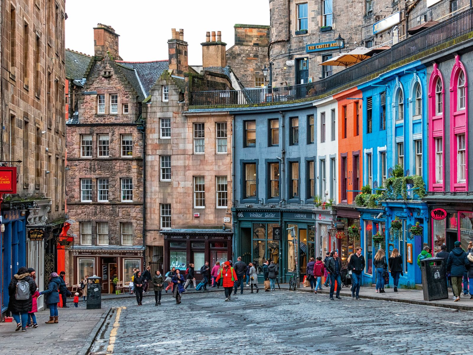 Colourful buildings along West Bow/Victoria Street, in the heart of Edinburgh's Old Town.