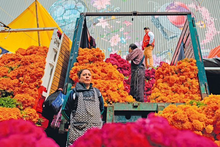 Market vendors unload piles of of marigold flowers ahead of Day of the Dead festivities.