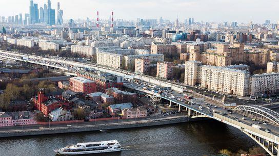 Tourist boat on Moskva River