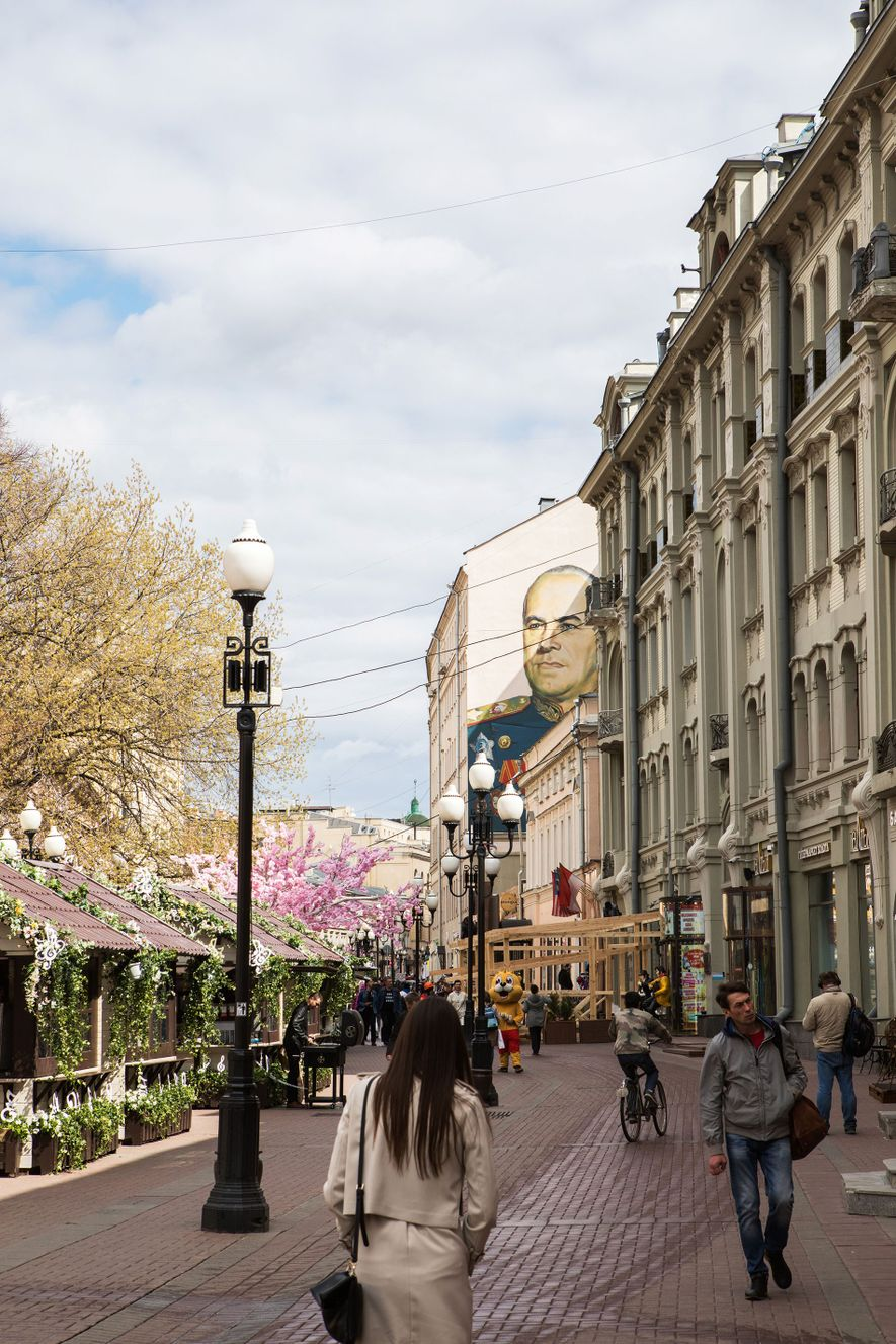 Old Arbat Street, a pedestrianised street famous throughout Russia for its theatres and Tsarist-era architecture.