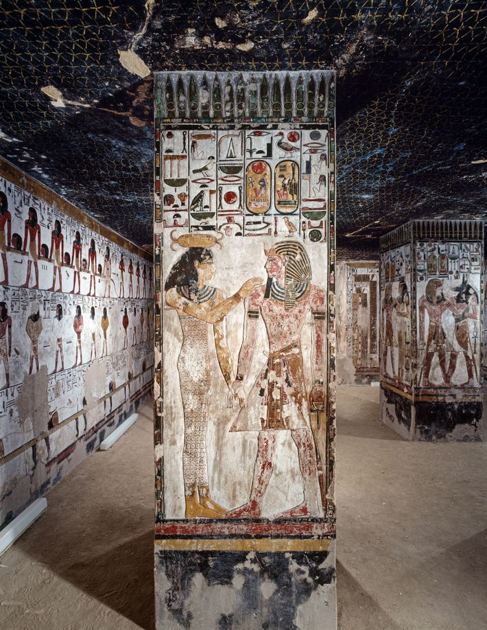 Located in the Valley of the Kings, the tomb art of the 19th-dynasty pharaoh Seti I ...