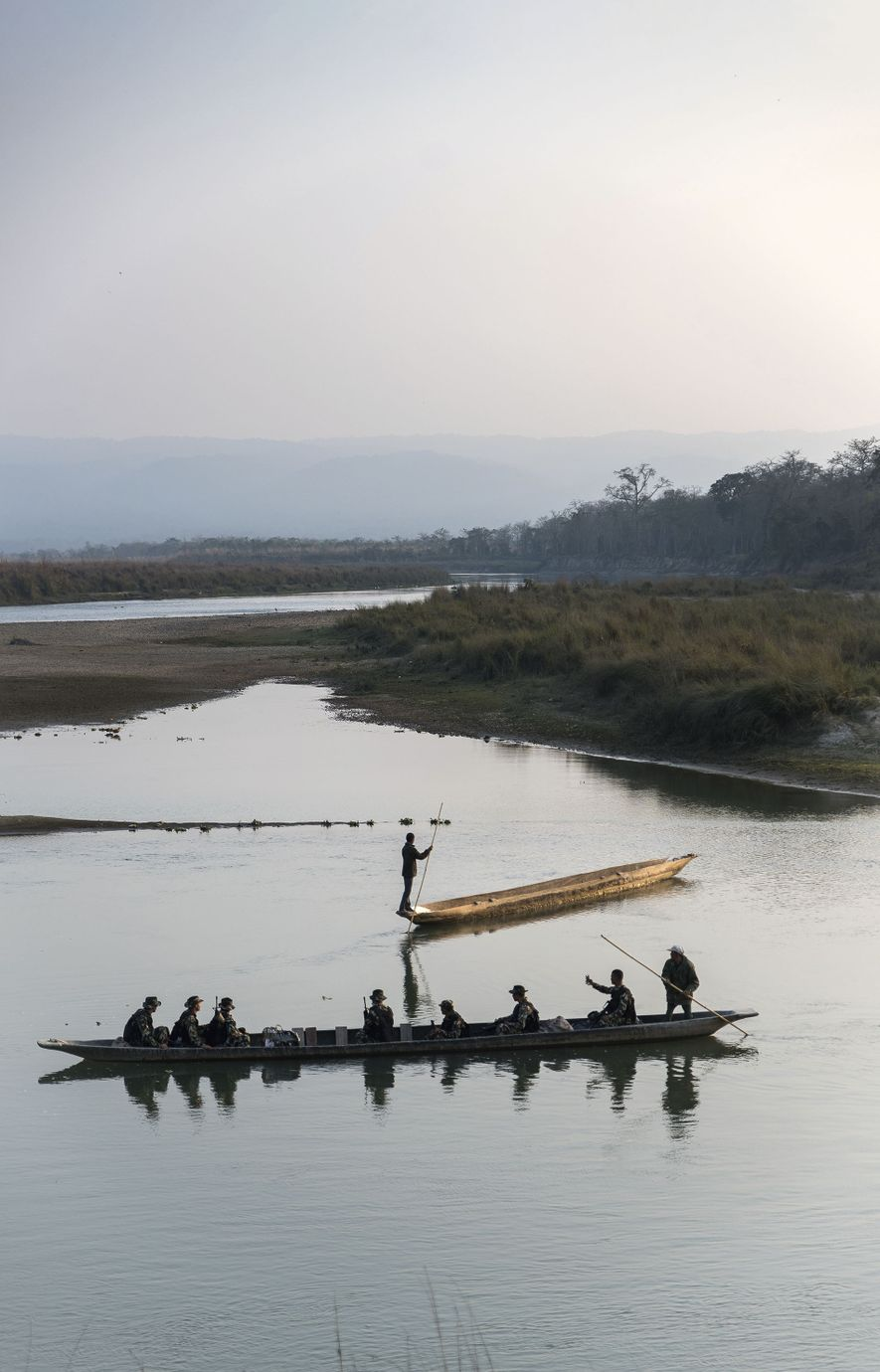 Boats on Rapti River, at the edge of Chitwan National Park.