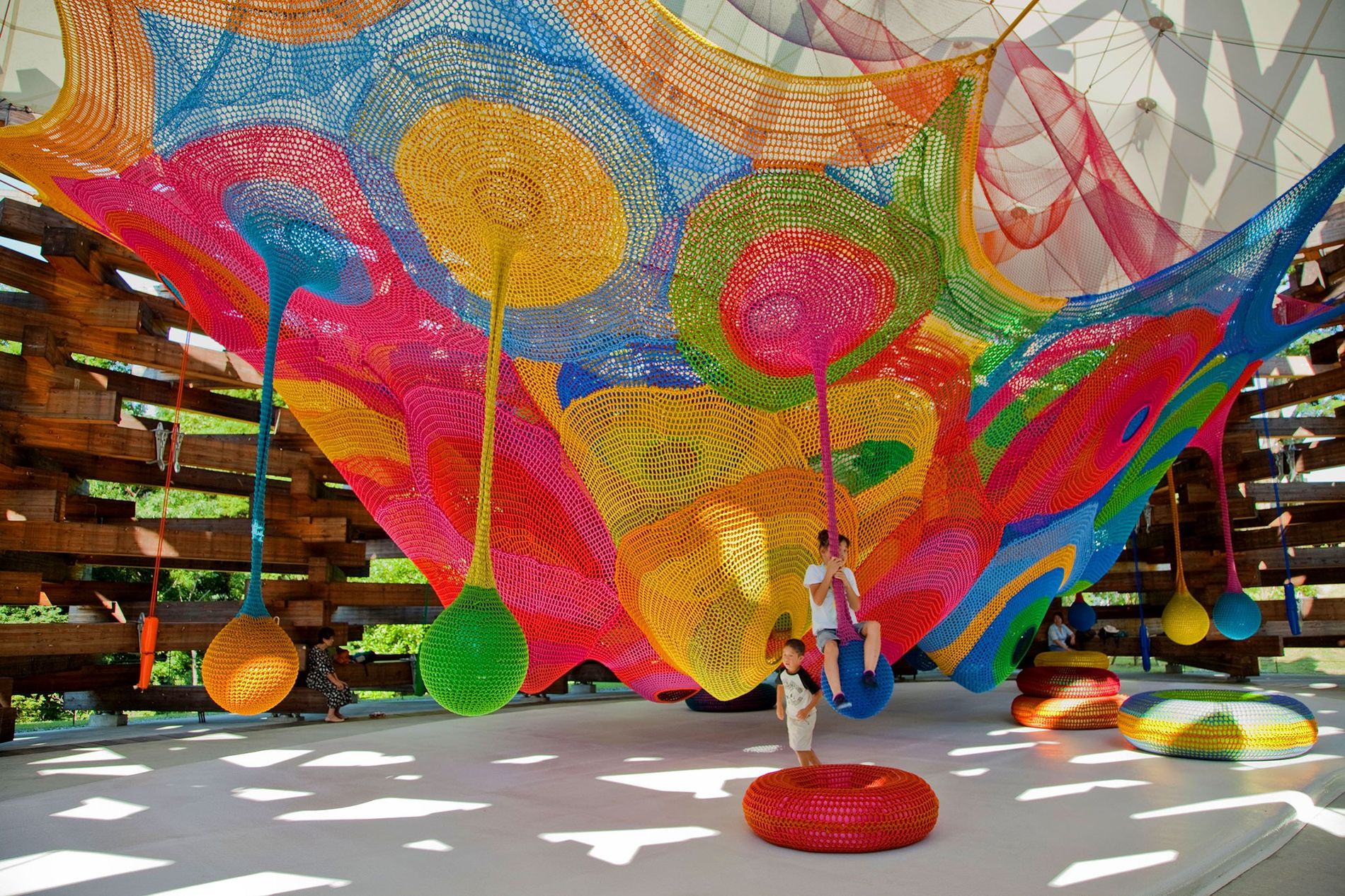 Hakone's open air museum inspires children with its use of light and colour.