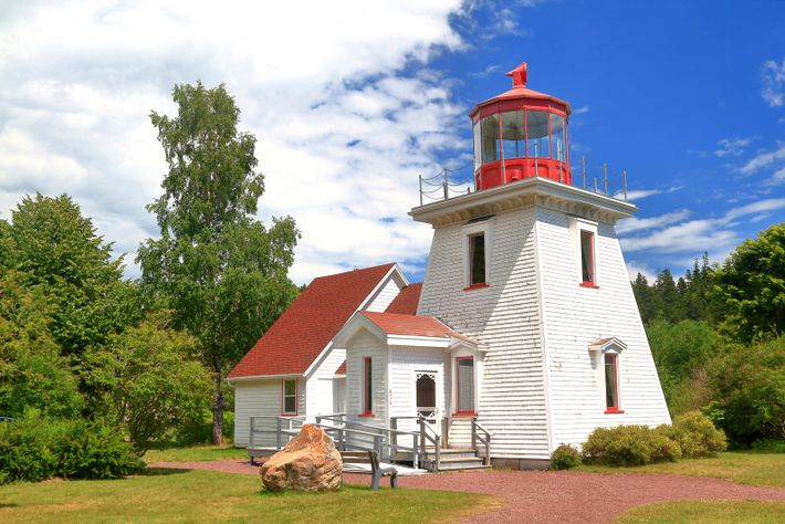 A replica of the Quaco Head Lighthouse at St. Martin's harbour also serves as the visitor's ...